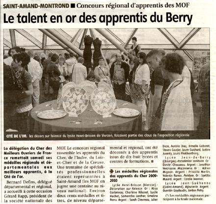 Berry Républicain du 5 juin 2010
